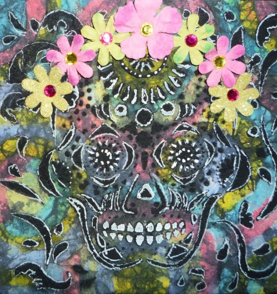 Skull painting by Janet Nelson Moore